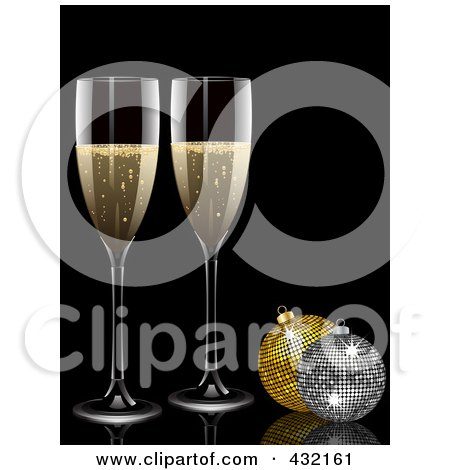 Royalty-Free (RF) Clipart Illustration of Two 3d Glasses Of Champagne And Glittery Christmas Baubles by elaineitalia