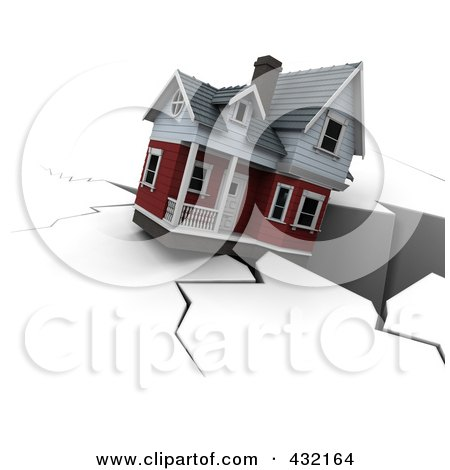 Royalty-Free (RF) Clipart Illustration of a 3d House Falling Into A Deep Crack by KJ Pargeter