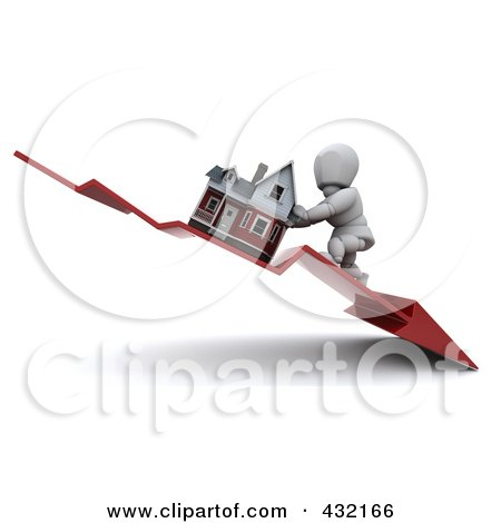 Royalty-Free (RF) Clipart Illustration of a 3d White Character Trying To Push Up A Home On A Declining Arrow by KJ Pargeter