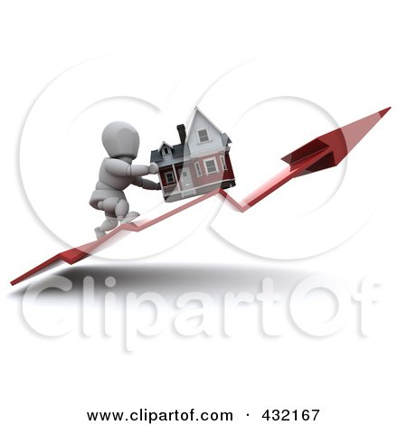 Royalty-Free (RF) Clipart Illustration of a 3d White Character Pushing His Home Up On An Upswing Arrow by KJ Pargeter