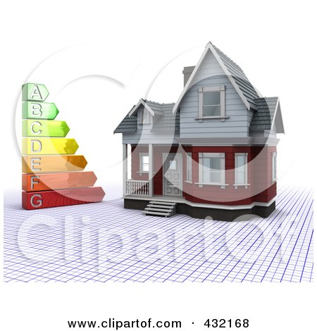 Royalty-Free (RF) Clipart Illustration of a 3d Energy Rating Chart By A Home On A Grid by KJ Pargeter