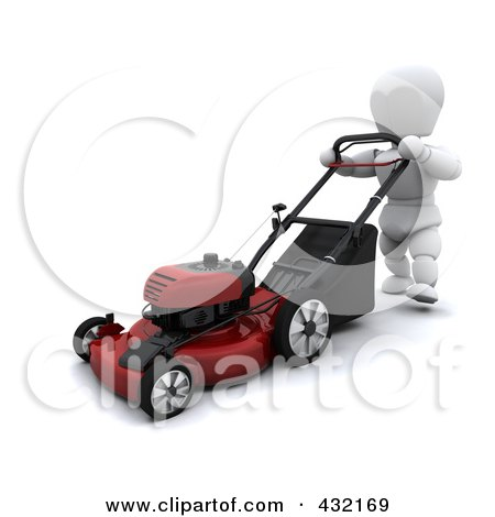 Royalty-Free (RF) Clipart Illustration of a 3d White Character Mowing The Lawn by KJ Pargeter