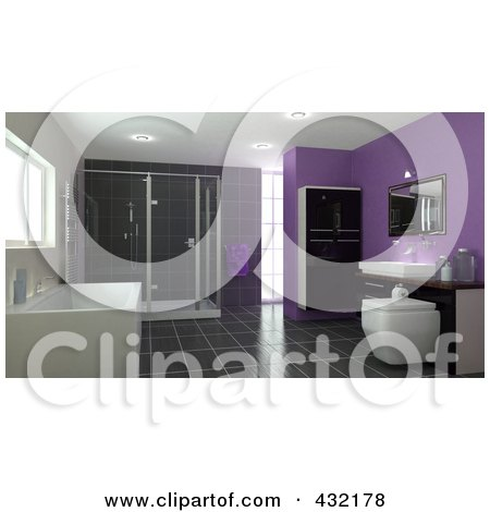 Royalty-Free (RF) Clipart Illustration of a 3d Bathroom Interior With A Large Soaking Tub, Shower, Cabinets, Sink, Tile Floors And Purple Walls by KJ Pargeter