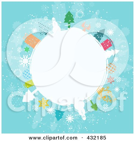 Royalty-Free (RF) Clipart Illustration of a White Winter Globe Circled In Snowmen, Trees, Angels, And Gifts On Blue by KJ Pargeter