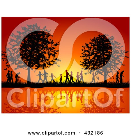 Royalty-Free (RF) Clipart Illustration of Silhouetted People Of All Ages Walking On The Waterfront In The Country Side Against An Orange Sunset by KJ Pargeter