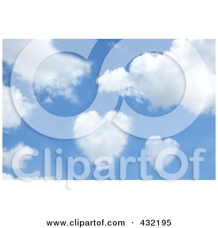 Royalty-Free (RF) Clipart Illustration of a Blue Sky With Heart Shaped Clouds by KJ Pargeter