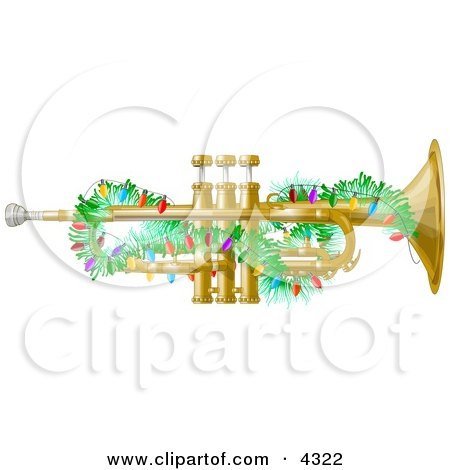Brass Trumpet Instrument Decorated with Christmas Lights Clipart by djart