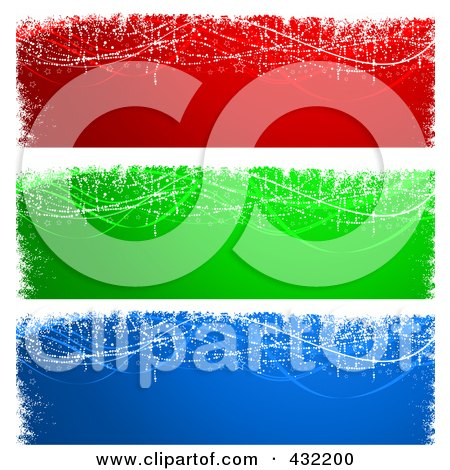 Royalty-Free (RF) Clipart Illustration of a Digital Collage Of Red, Green And Blue Magical Christmas Or Winter Website Banners by KJ Pargeter