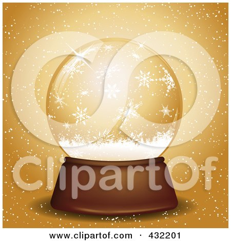 Royalty-Free (RF) Clipart Illustration of a Snow Globe With Snowflakes Over Gold by KJ Pargeter