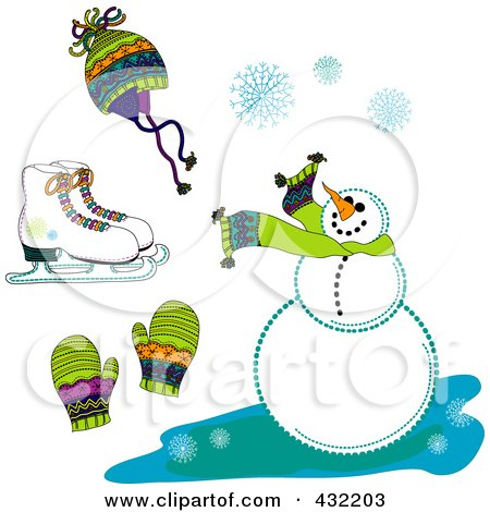 Royalty-Free (RF) Clipart Illustration of a Digital Collage Of Ice Skates, A Hat, Mittens, Snowflakes And A Snowman by inkgraphics