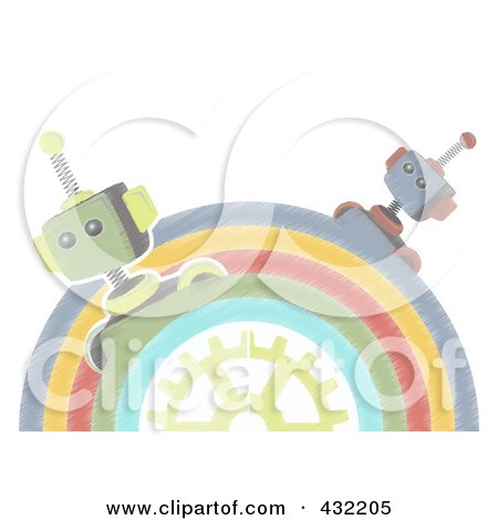 Royalty-Free (RF) Clipart Illustration of a Pastel Sketched Half Circle Of Robots Around A Gear by mheld
