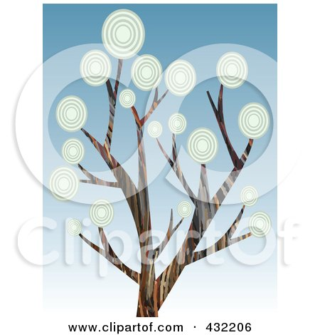 Royalty-Free (RF) Clipart Illustration of a Tree With Circle Foliage Over Gradient Blue Sky by mheld