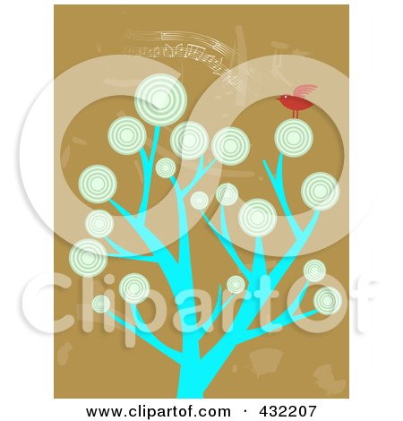 Royalty-Free (RF) Clipart Illustration of a Tree With Circle Foliage And A Red Bird On Brown by mheld