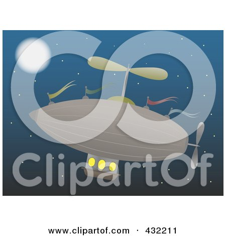 Royalty-Free (RF) Clip Art Illustration of an Airship In The Night Sky by mheld
