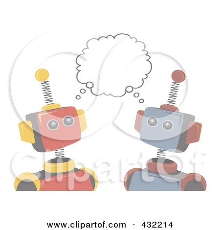 Royalty-Free (RF) Clipart Illustration of a Faded Robots Sharing An Idea by mheld