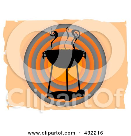 Royalty-Free (RF) Clipart Illustration of a Smokey Bbq Over Orange And Black Circles On Orange by mheld