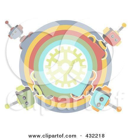 Royalty-Free (RF) Clipart Illustration of a Pastel Circle Of Robots Around A Gear by mheld