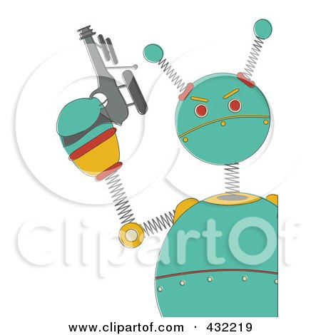 Royalty-Free (RF) Clipart Illustration of a Springy Green Robot Holding A Gun by mheld