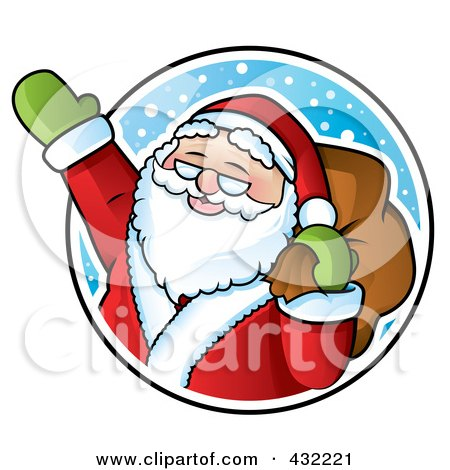 Royalty-Free (RF) Clipart Illustration of Santa Waving In A Snowy Circle by TA Images