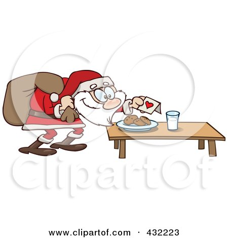 Royalty-Free (RF) Clipart Illustration of Cookies And Milk Set Out For A Santa Snack by gnurf