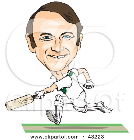 Clipart Illustration of a Male Caricature Playing Cricket by Dennis Holmes Designs