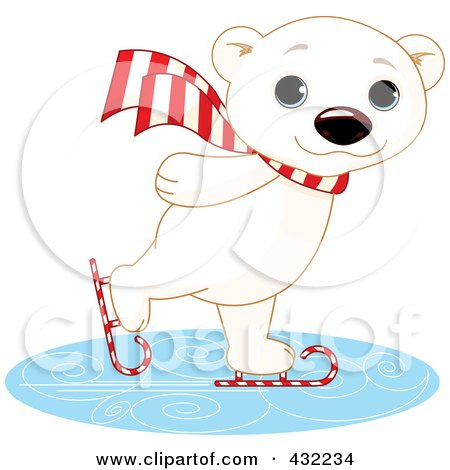 Royalty-Free (RF) Clipart Illustration of a Cute Polar Bear Ice Skating On Candy Cane Skates by Pushkin