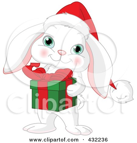 Royalty-Free (RF) Clipart Illustration of a Cute White Christmas Rabbit Holding A Gift by Pushkin