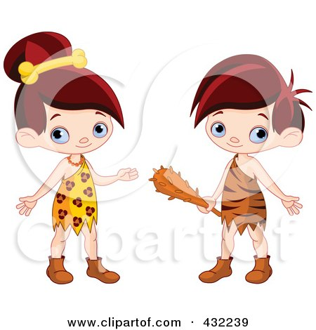 Royalty-Free (RF) Clipart Illustration of a Digital Collage Of A Cute Cave Girl And Boy by Pushkin