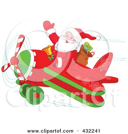 Royalty-Free (RF) Clipart Illustration of Santa Waving And Holding A Bell While Flying A Biplane by Pushkin