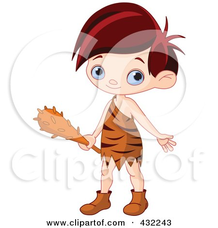 Royalty-Free (RF) Clipart Illustration of a Cute Cave Boy Holding A Club by Pushkin