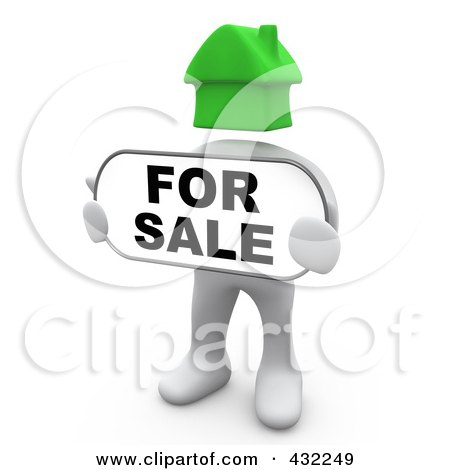 Royalty-Free (RF) Clipart Illustration of a 3d White Person With A Green House Head, Holding A For Sale Sign by 3poD
