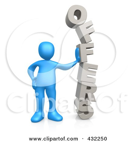 Royalty-Free (RF) Clipart Illustration of a 3d Blue Person Leaning Against The Stacked Word OFFERS by 3poD