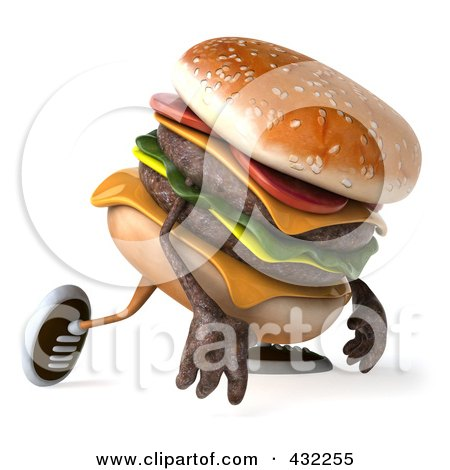Royalty-Free (RF) Clipart Illustration of a 3d Hamburger Character Walking Right And Pouting by Julos