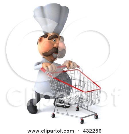 Royalty-Free (RF) Clipart Illustration of a 3d Chef Man Pushing A Shopping Cart To The Right by Julos
