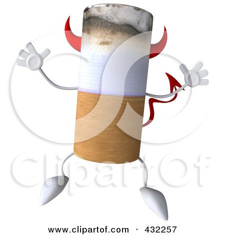 Royalty-Free (RF) Clipart Illustration of a 3d Devil Cigarette Character Jumping by Julos