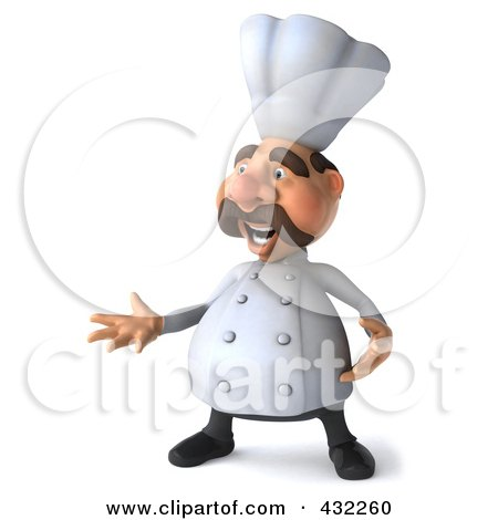 Royalty-Free (RF) Clipart Illustration of a 3d Chef Man Facing Left And Gesturing by Julos