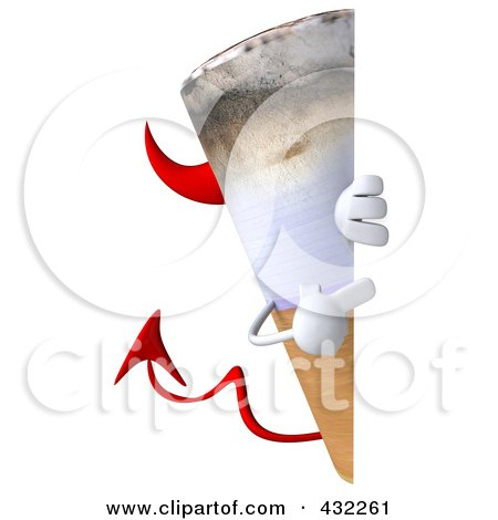 Royalty-Free (RF) Clipart Illustration of a 3d Devil Cigarette Character With A Blank Sign - 2 by Julos