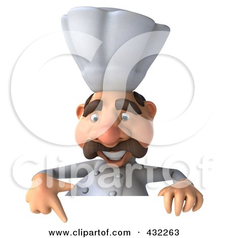 Royalty-Free (RF) Clipart Illustration of a 3d Chef Man Behind A Blank Sign, Pointing Down by Julos