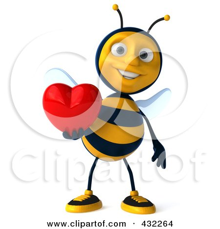 3d Bee Character Holding A Heart Posters, Art Prints