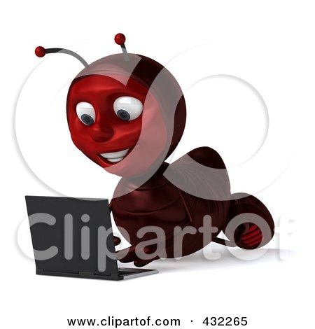 Royalty-Free (RF) Clipart Illustration of a 3d Ant Character Using A Laptop On The Floor - Pose 2 by Julos