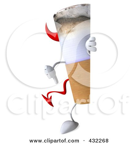 Royalty-Free (RF) Clipart Illustration of a 3d Devil Cigarette Character With A Blank Sign - 3 by Julos