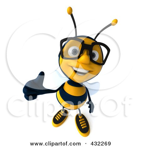 Royalty-Free (RF) Clipart Illustration of a 3d Bee Wearing Glasses And Holding A Thumb Up by Julos