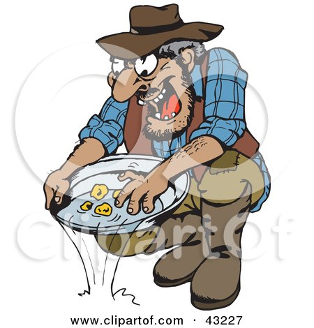 Clipart Illustration of a Dirty Old Gold Miner Finding ...