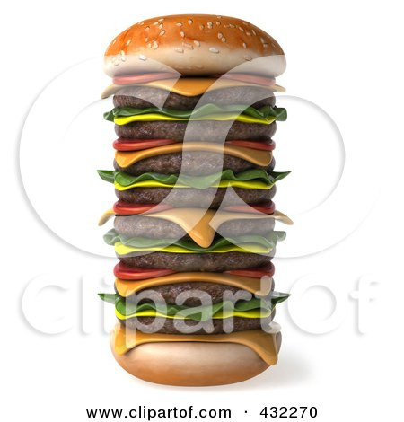 Royalty-Free (RF) Clipart Illustration of a 3d Huge Stacked Cheeseburger by Julos