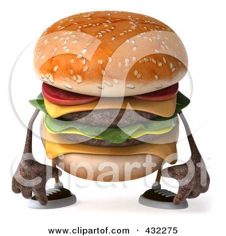 Royalty-Free (RF) Clipart Illustration of a 3d Hamburger Character Facing Front And Pouting by Julos