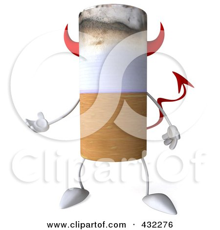 Royalty-Free (RF) Clip Art Illustration of a 3d Devil Cigarette Character Gesturing by Julos