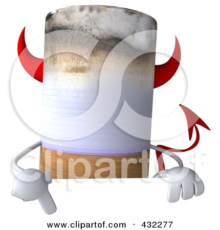 Royalty-Free (RF) Clip Art Illustration of a 3d Devil Cigarette Character With A Blank Sign - 1 by Julos