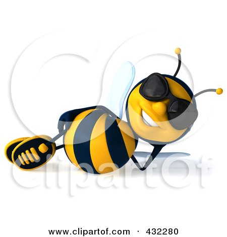 Royalty-Free (RF) Clipart Illustration of a 3d Bee Character Wearing Shades And Reclining by Julos