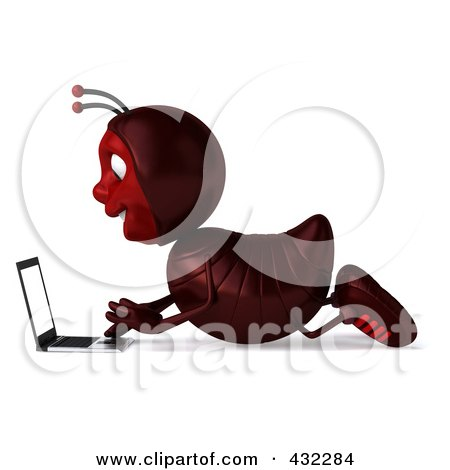 Royalty-Free (RF) Clipart Illustration of a 3d Ant Character Using A Laptop On The Floor - Pose 1 by Julos
