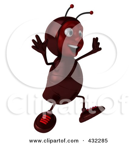 Royalty-Free (RF) Clipart Illustration of a 3d Ant Character Jumping And Facing Right by Julos